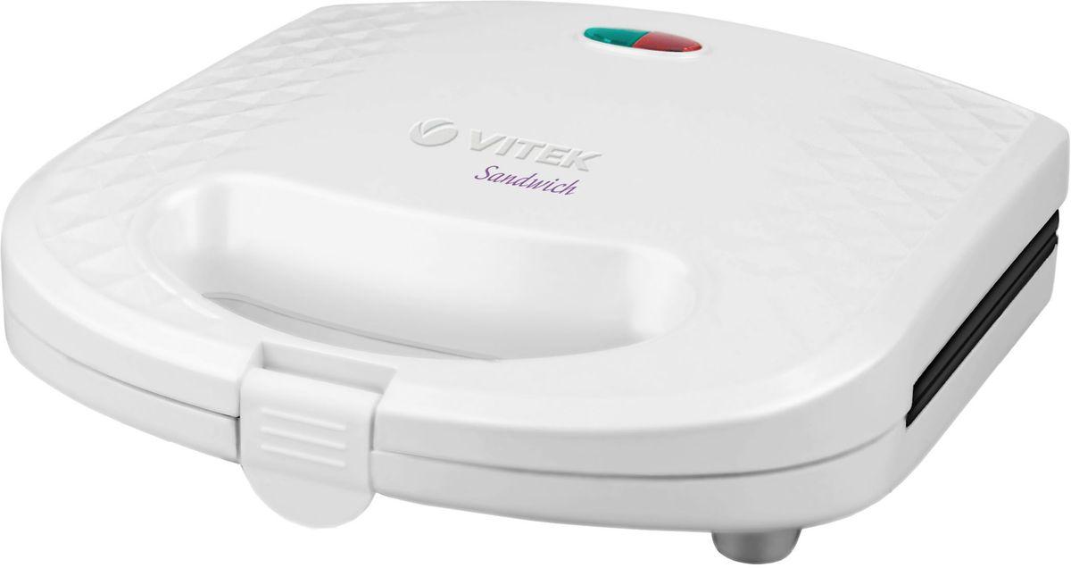 Vitek 1599(W) сэндвичницаVT-1599(W)Сэндвичница Vitek 1599(W) - это отличный компактный прибор для быстрого приготовления ароматных горячих бутербродов.Для наилучшего пропекания в конструкции реализован равномерный прогрев рабочей поверхности с антипригарным покрытием. Ненагревающиеся ручки позволяют использовать сэндвичницу без риска обжечься. Сэндвичница снабжена индикаторами работы и нагрева. Прибор занимает минимум места, даже если не используется, поскольку для него предусмотрена возможность вертикального хранения с фиксатором ручек.С помощью сэндвичницы можно без особого труда получить вкуснейшие домашние горячие сэндвичи всего за несколько минут.