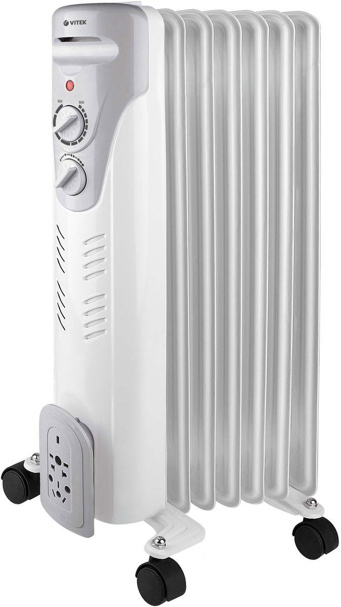 Vitek VT-1708(W) радиаторVT-1708(W)Радиатор Vitek VT-1708 – это масляный обогреватель, который можно использовать как в жилых, так и в офисных помещениях. Эта модель работает совершенно бесшумно, быстро нагревается, поддерживает заданную температуру воздуха благодаря встроенному термостату и не требует сложного ухода. Доступно три уровня мощности, поэтому можно легко настроить устройство так, чтобы обеспечить комфортный микроклимат. Если обогреватель случайно упадёт, тут же сработает система блокировки, и он автоматически отключится. Чтобы включить прибор, достаточно просто вернуть его в вертикальное положение. Также предусмотрена защита от перегрева. Устройство оборудовано колёсиками и удобной ручкой, поэтому его легко можно перемещать из комнаты в комнату.