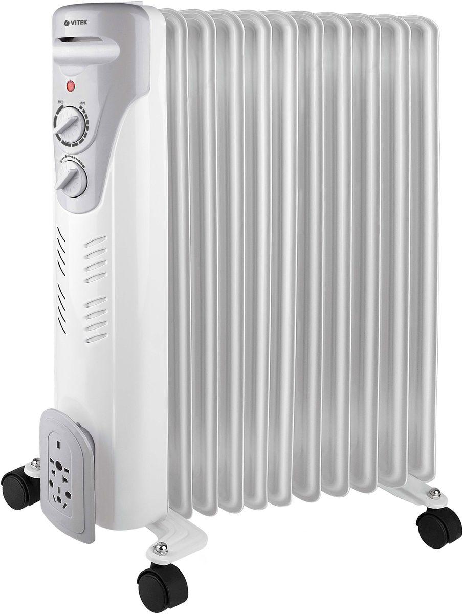 Vitek VT-1710(W) радиаторVT-1710(W)Радиатор Vitek VT-1710 W – это масляный обогреватель, который можно использовать как в жилых, так и в офисных помещениях. Эта модель работает совершенно бесшумно, быстро нагревается, поддерживает заданную температуру воздуха благодаря встроенному термостату и не требует сложного ухода. Доступно три уровня мощности, поэтому можно легко настроить устройство так, чтобы обеспечить комфортный микроклимат. Если обогреватель случайно упадёт, тут же сработает система блокировки, и он автоматически отключится. Чтобы включить прибор, достаточно просто вернуть его в вертикальное положение. Также предусмотрена защита от перегрева.