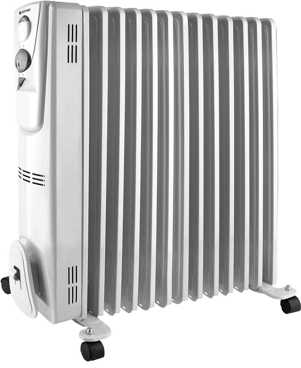 Vitek VT-2129(W) радиаторVT-2129(W)Vitek VT-2129(W) радиатор предназначен для обогрева бытового помещения или отдельной его зоны. Масляный радиатор Vitek VT-2129(W) состоит из 13 маслонаполненных секций. Данный обогреватель имеет три ступени мощности нагрева 1000/1500/2500 вт. Роликовая база упрощает перемещение радиатора по комнате. Для поддержания заданной температуры обогрева предусмотрен встроенный термостат.