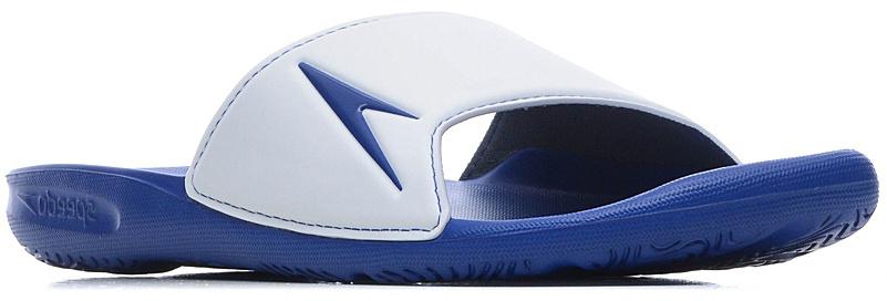 Шлепанцы мужские Speedo Atami II, цвет: синий, белый. 8-09072B561-B561. Размер 7 (40,5)8-09072B561-B561Мужские шлепанцы для бассейна в яркой цветовой комбинации. Шлепанцы устойчивы к скольжению и протестированы в соответствии с международными стандартами отрасли. Специальное антибактериальное покрытие препятствует возникновению неприятного запаха в процессе использования.ВЛАГООТВОД: Дренажные отверстия в подошве обеспечивают быстрое удаление влаги и дополнительную вентиляцию. СЦЕПЛЕНИЕ С ПОВЕРХНОСТЬЮ: Специальный рисунок подошвы как с внутренней, так и с внешней стороны, гарантирует оптимальное сцепление при ходьбе, как по сухой, так и по влажной поверхности. КОМФОРТ: Форма изделия, повторяющая контуры и рельеф стопы, обеспечивает непревзойденный комфорт и удобство во время использования.ЛЕГКОСТЬ: Использование легких водоотталкивающих материалов обеспечивают очень легкий вес и комфортность использования. Специальное антибактериальное покрытие препятствует возникновению неприятного запаха в процессе использования.