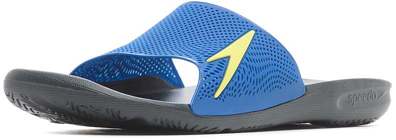 Шлепанцы мужские Speedo Atami II Max, цвет: голубой, серый. 8-09060B546-B546. Размер 6 (39)8-09060B546-B546Мужские шлепанцы для бассейна в яркой цветовой комбинации. Специальная эргономичная посадка, повторяющая контуры и рельеф стопы, обеспечивает непревзойденный комфорт и удобство во время использования. ВЛАГООТВОД:Перфорированная верхняя часть изделия и дренажные отверстия в подошве обеспечивают быстрое удаление влаги и дополнительную вентиляцию. СЦЕПЛЕНИЕ С ПОВЕРХНОСТЬЮ: Специальный рисунок подошвы как с внутренней, так и с внешней стороны, гарантирует оптимальное сцепление при ходьбе, как по сухой, так и по влажной поверхности. КОМФОРТ: Форма изделия, повторяющая контуры и рельеф стопы, обеспечивает непревзойденный комфорт и удобство во время использования.ЛЕГКОСТЬ: Использование легких водоотталкивающих материалов обеспечивают очень легкий вес и комфортность использования. АНТИБАКТЕРИАЛЬНАЯ ЗАЩИТА: Специальное антибактериальное покрытие ANTI-ODOUR препятствует возникновению неприятного запаха в процессе использования.