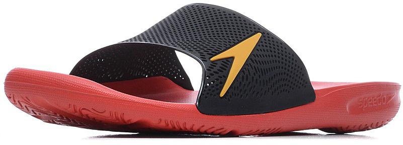 Шлепанцы мужские Speedo Atami II Max, цвет: черный, красный. 8-09060B545-B545. Размер 9 (43)8-09060B545-B545Мужские шлепанцы для бассейна в яркой цветовой комбинации. Специальная эргономичная посадка, повторяющая контуры и рельеф стопы, обеспечивает непревзойденный комфорт и удобство во время использования. ВЛАГООТВОД:Перфорированная верхняя часть изделия и дренажные отверстия в подошве обеспечивают быстрое удаление влаги и дополнительную вентиляцию. СЦЕПЛЕНИЕ С ПОВЕРХНОСТЬЮ: Специальный рисунок подошвы как с внутренней, так и с внешней стороны, гарантирует оптимальное сцепление при ходьбе, как по сухой, так и по влажной поверхности. КОМФОРТ: Форма изделия, повторяющая контуры и рельеф стопы, обеспечивает непревзойденный комфорт и удобство во время использования.ЛЕГКОСТЬ: Использование легких водоотталкивающих материалов обеспечивают очень легкий вес и комфортность использования. АНТИБАКТЕРИАЛЬНАЯ ЗАЩИТА: Специальное антибактериальное покрытие ANTI-ODOUR препятствует возникновению неприятного запаха в процессе использования.
