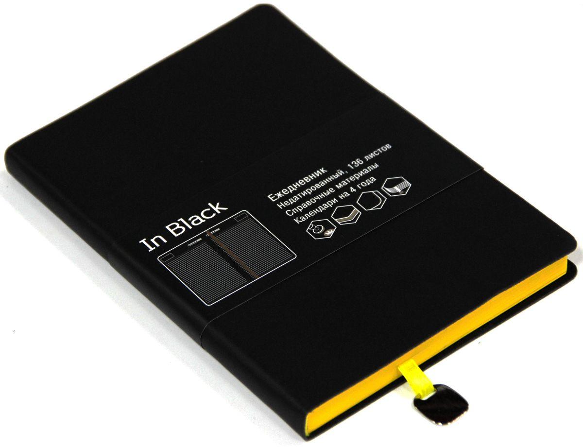 Канц-Эксмо Ежедневник In Black недатированный 136 листов цвет желтый формат A5ЕИИБ17513601Недатированный ежедневник Канц-Эксмо In Black формата А5 великолепно подойдет для записей и заметок. Ежедневник имеет сшитый внутренний блок из офсетной бумаги плотностью 70гр/м2 с разметкой в линейку и закругленными углами. Обложка выполнена из высококачественной искусственной кожи. Изделие дополнено ляссе, справочными материалами и календарями на 4 года.