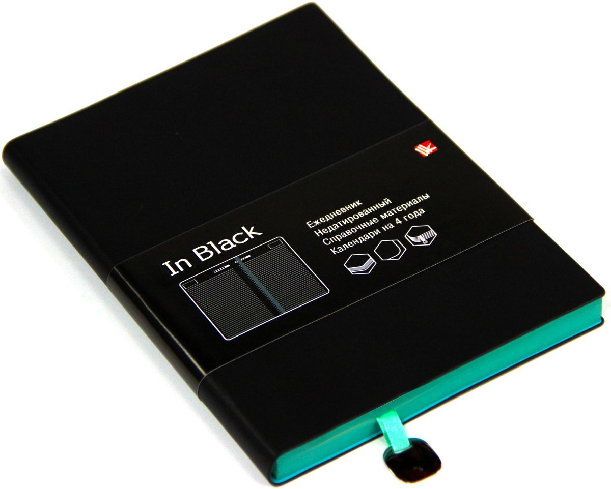 Канц-Эксмо Ежедневник In Black недатированный 136 листов цвет бирюзовый формат A5ЕИИБ17513604Недатированный ежедневник Канц-Эксмо In Black формата А5 великолепно подойдет для записей и заметок. Ежедневник имеет сшитый внутренний блок из офсетной бумаги плотностью 70гр/м2 с разметкой в линейку и закругленными углами. Обложка выполнена из высококачественной искусственной кожи. Изделие дополнено ляссе, справочными материалами и календарями на 4 года.