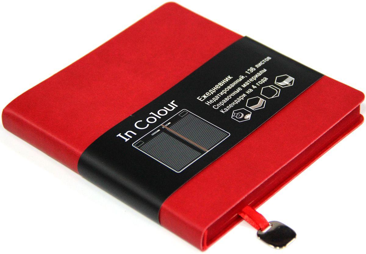 Канц-Эксмо Ежедневник In Colour недатированный 136 листов цвет красный формат А5-ЕИИК17513602Ежедневник 147х162 Недатированный 136л. (IN COLOUR). Искусственная кожа, ляссе.