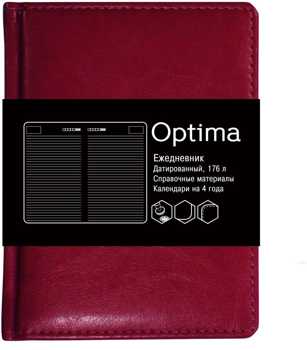 Канц-Эксмо Ежедневник Optima недатированный 136 листов цвет бордовый формат A6ЕКО61813602Недатированный ежедневник Канц-Эксмо Optima формата А6 великолепно подойдет для записей и заметок. Ежедневник имеет сшитый внутренний блок из белой офсетной бумаги плотностью 60гр/м2 с разметкой в линейку и закругленными углами. Обложка выполнена из высококачественной искусственной кожи, уплотненной поролоном. Изделие дополнено справочными материалами и календарями на 4 года.
