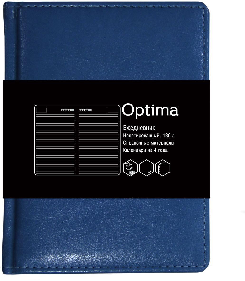 Канц-Эксмо Ежедневник Optima недатированный 136 листов цвет синий формат A6ЕКО61813603Недатированный ежедневник Канц-Эксмо Optima формата А6 великолепно подойдет для записей и заметок. Ежедневник имеет сшитый внутренний блок из белой офсетной бумаги плотностью 60гр/м2 с разметкой в линейку и закругленными углами. Обложка выполнена из высококачественной искусственной кожи, уплотненной поролоном. Изделие дополнено справочными материалами и календарями на 4 года.
