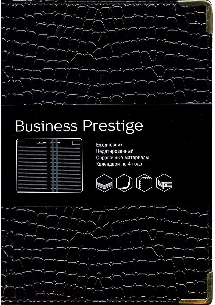 Канц-Эксмо Ежедневник Business Prestige Iguana датированный 152 листа цвет черный формат A5ЕКП51415213Ежедневник А5. Недатированный 152л (BUSINESS PRESTIGE). Искусственная кожа, ляссе.