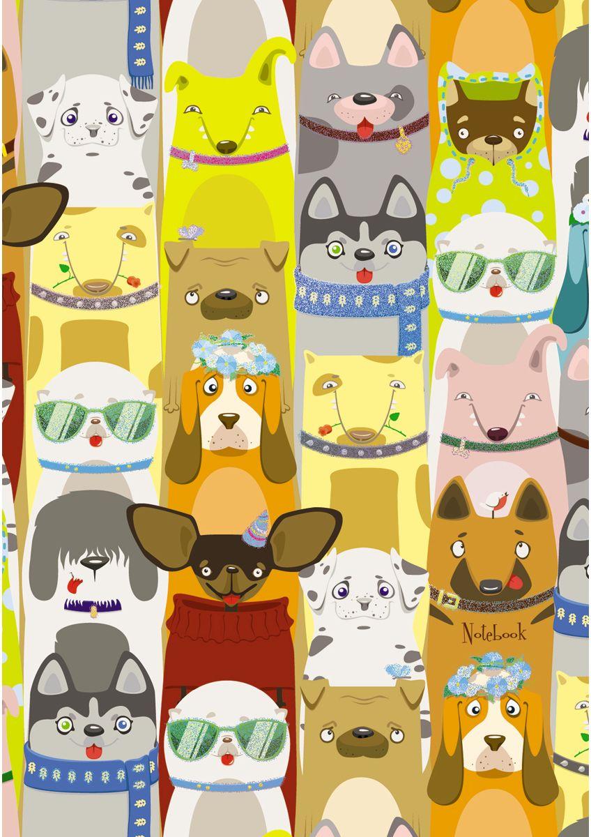 Канц-Эксмо Записная книжка Очаровательные собаки в линейку 48 листов формат А6КЗБ6482396Книга для записей А6 (110х145), 48л.