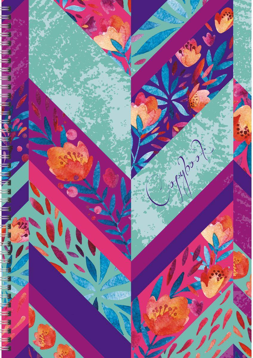 Канц-Эксмо Тетрадь Орнамент Цветочная палитра 80 листов в клетку формат А4 записные книжки канц эксмо книга для записей с поролоном 80 листов орнамент разноцветные зонтики
