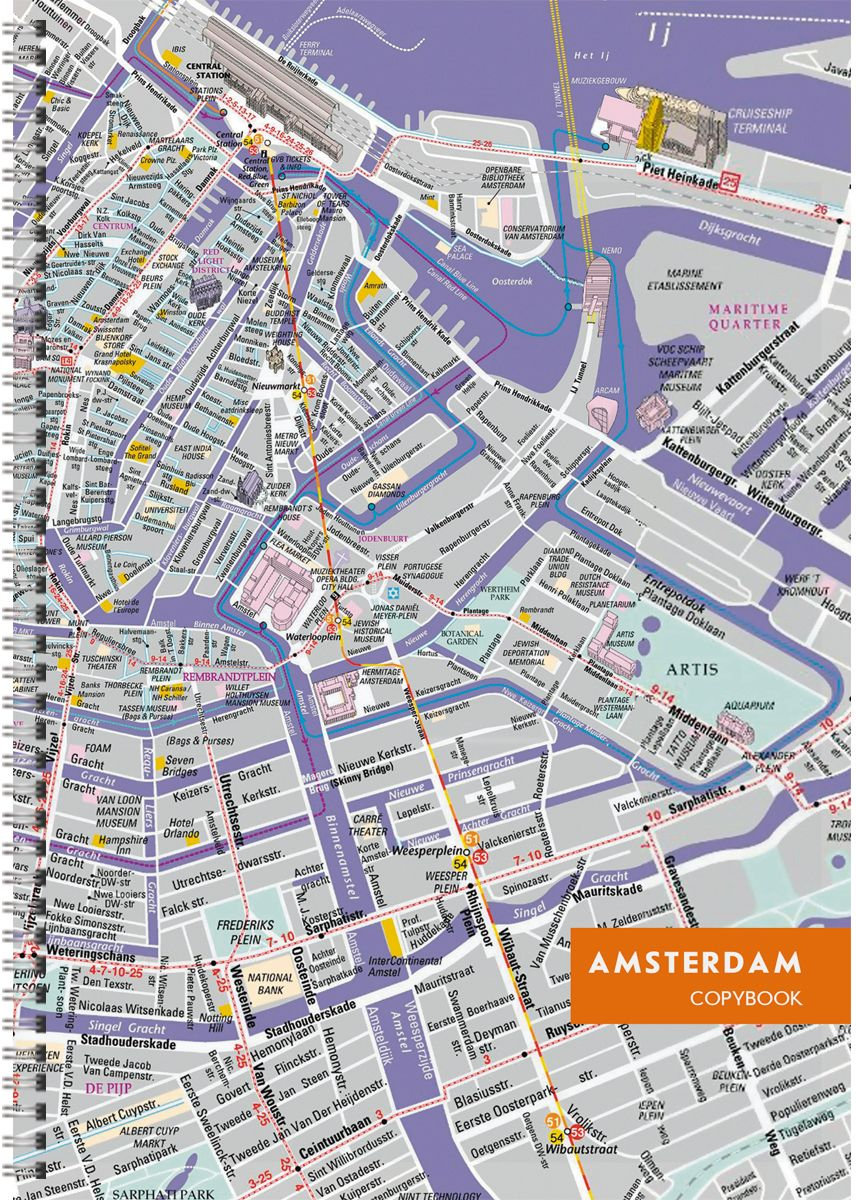 Канц-Эксмо Тетрадь Графика Карта Амстердама в клетку 96 листов формат А4ТСЛ4964314Тетради для конспектов А4, 96л. Обложка мелованный картон. Евроспираль. Бумага–офсет 60г/м2, белая, клетка.