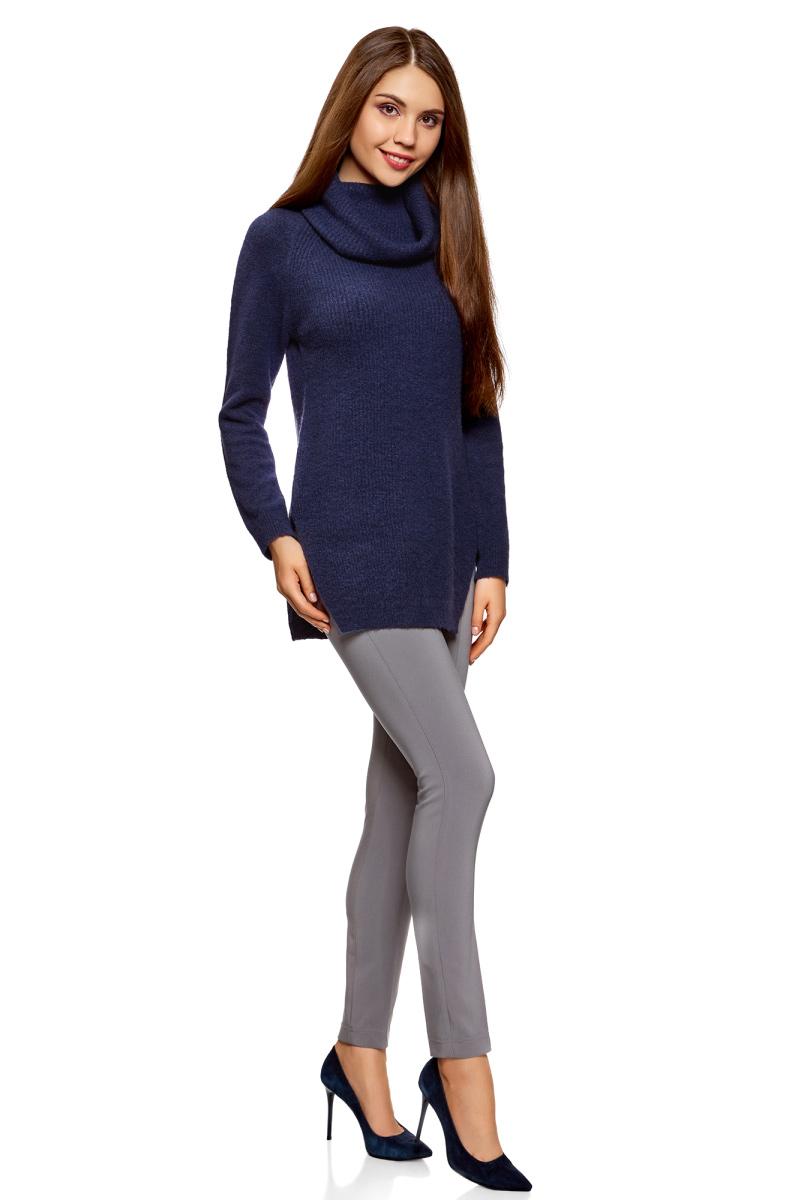 Свитер жен oodji Ultra, цвет: темно-синий, черный меланж. 64407145/45921/7929M. Размер XXL (52)64407145/45921/7929M