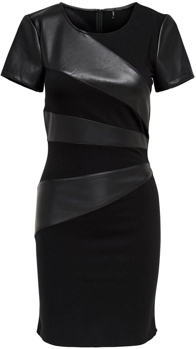 Платье Only, цвет: черный. 15139923_Black. Размер 36 (42)15139923_BlackСтильное платье-футляр от Only выполнено из трикотажа со вставками из искусственной кожи. Модель облегающего кроя с короткими рукавами и круглым вырезом горловины на спинке застегивается на потайную застежку-молнию.