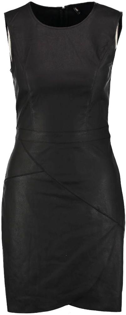 Платье Only, цвет: черный. 15137605_Black. Размер 36 (42)15137605_BlackСтильное платье от Only выполнено из искусственной кожи. Модель облегающего кроя без рукавов на спинке застегивается на потайную застежку-молнию.