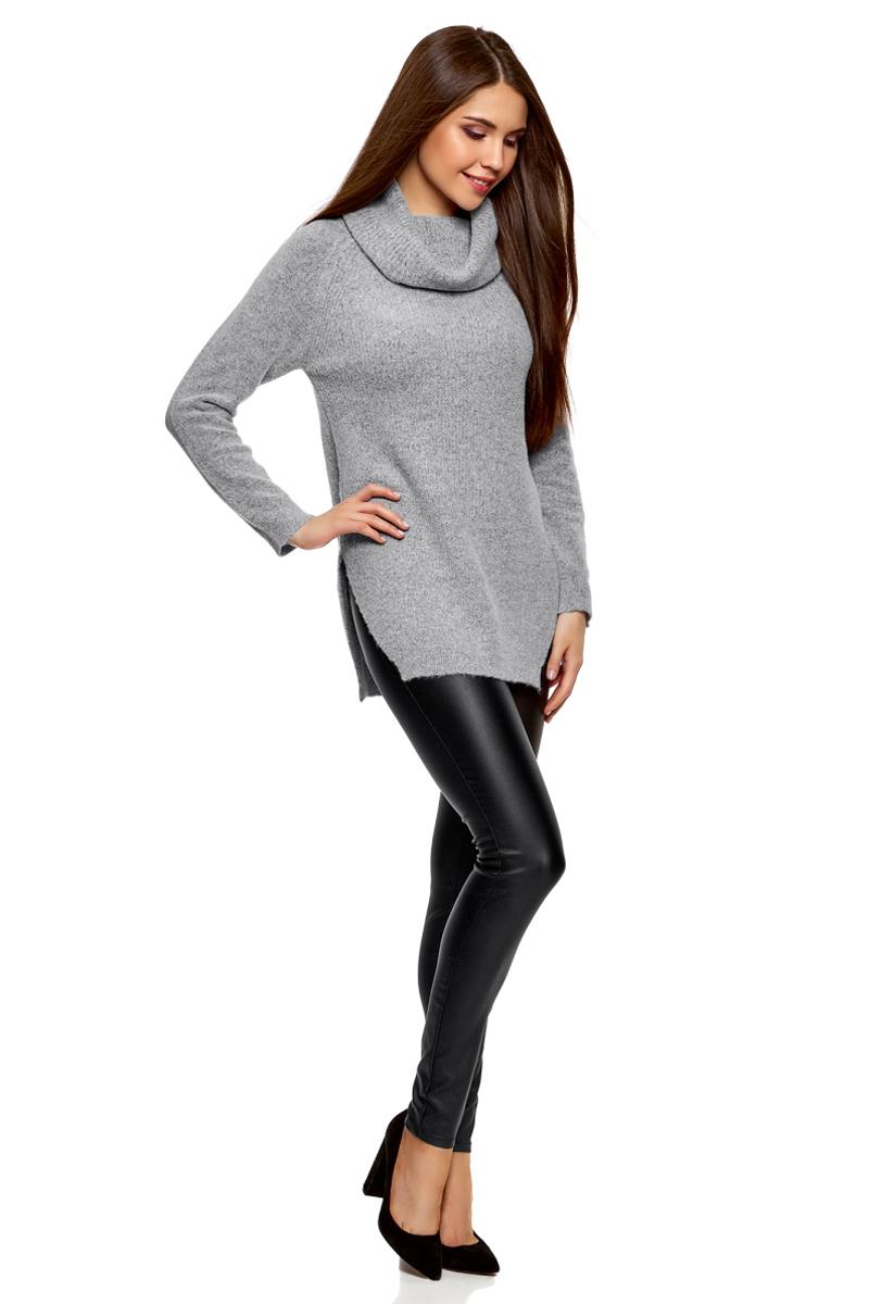 Свитер жен oodji Ultra, цвет: белый, черный меланж. 64407145/45921/1229M. Размер M (46)64407145/45921/1229M