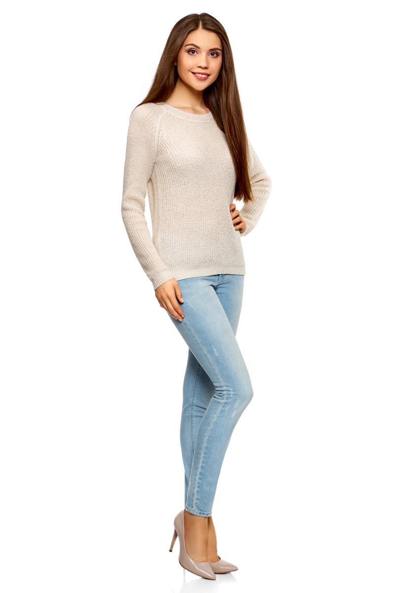 Джемпер женский oodji Ultra, цвет: кремовый металлик. 63807228-1/43811/3000X. Размер XL (50)