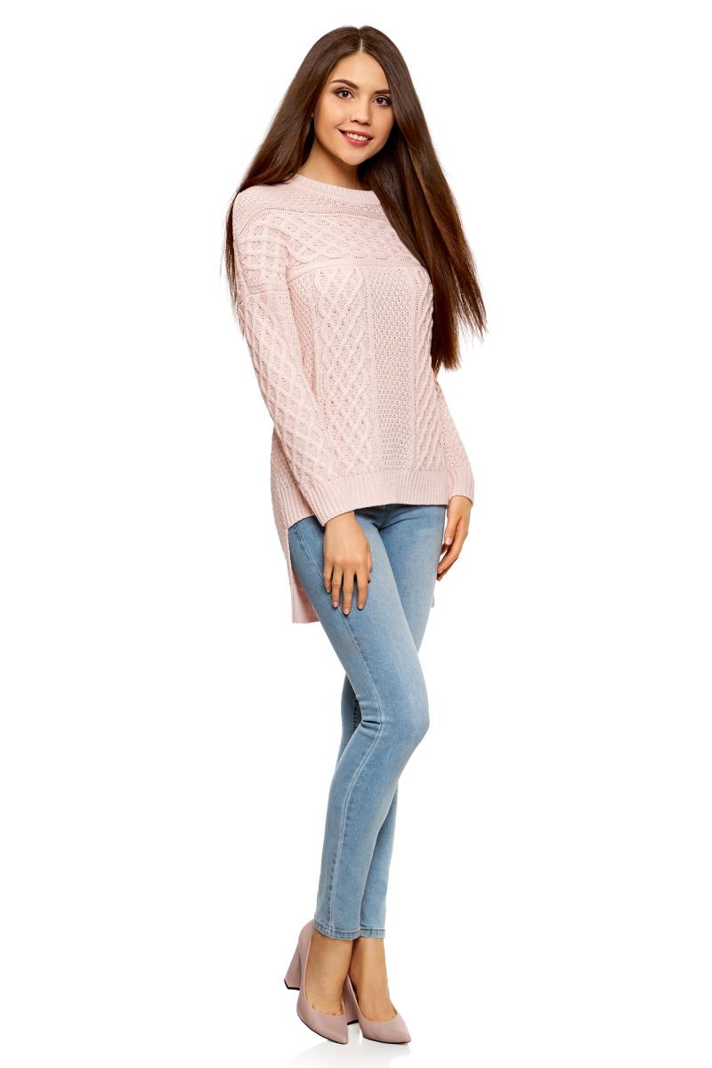 Джемпер женский oodji Ultra, цвет: светло-розовый. 63805297/31328/4000N. Размер XL (50) кардиган женский oodji ultra цвет светло розовый 63201002 47937 4000n размер s 44