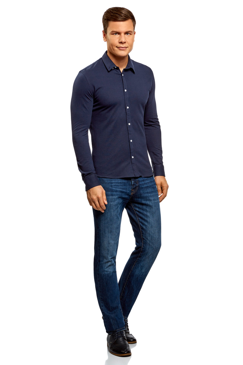 Рубашка мужская oodji Lab, цвет: темно-синий. 5L411008M/47737N/7900N. Размер XXL (58;60)5L411008M/47737N/7900NМужская рубашка от oodji выполнена из натурального хлопка. Модель приталенного кроя с длинными рукавами и отложным воротником застегивается на пуговицы.