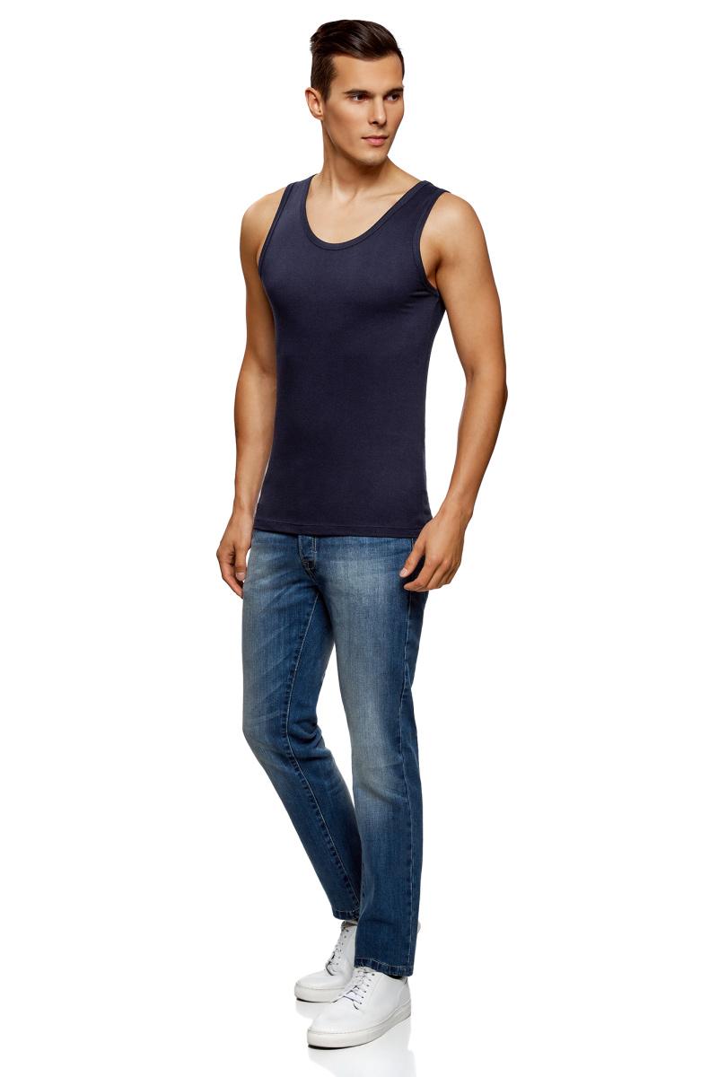Майка мужская oodji Basic, цвет: темно-синий, индиго. 5B700000M/44133N/7901N. Размер XS (44) майка мужская oodji basic цвет бирюзовый 5b700000m 44133n 7300n размер xs 44