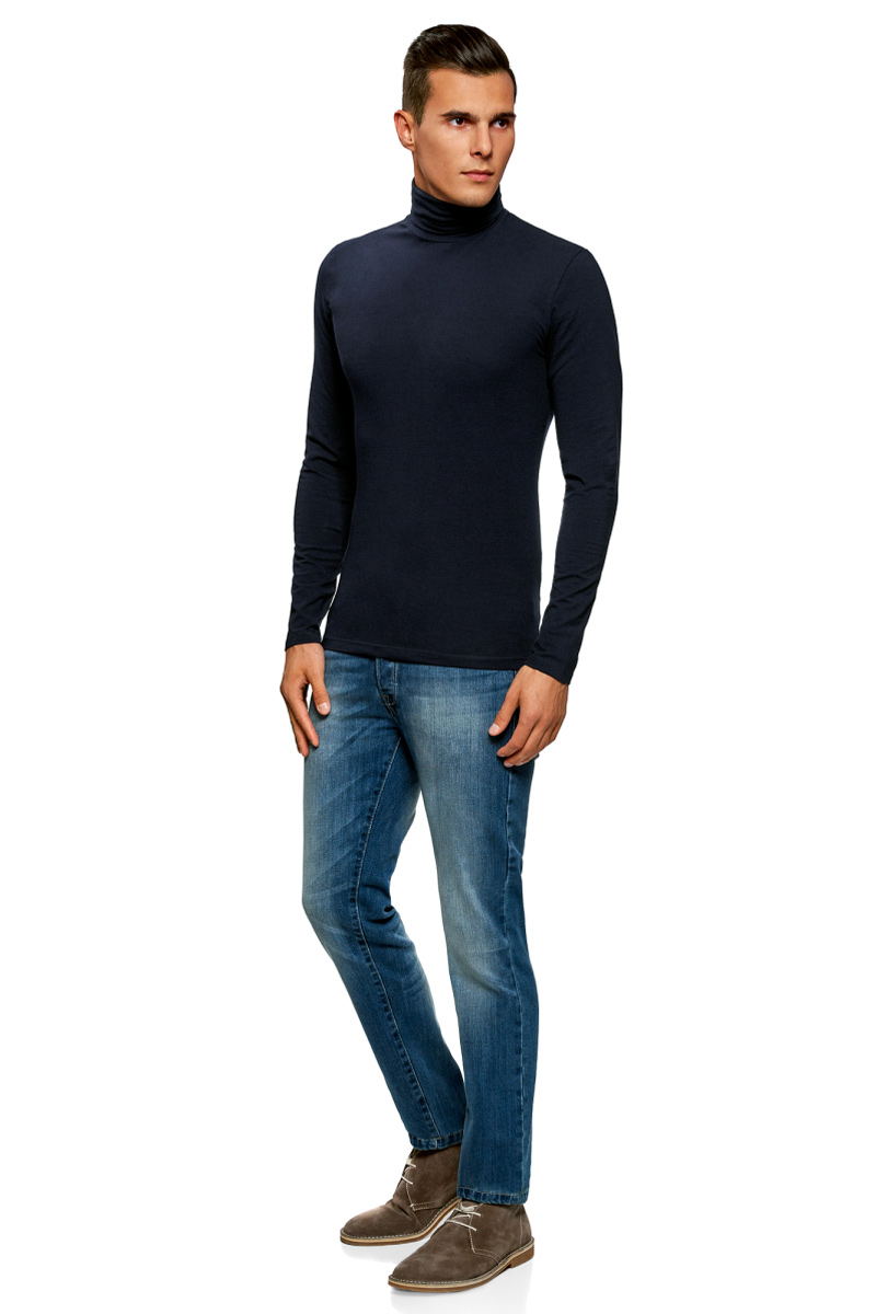 Водолазка мужская oodji Basic, цвет: темно-синий, 3 шт. 5B513001T3/46737N/7901N. Размер S (46/48)