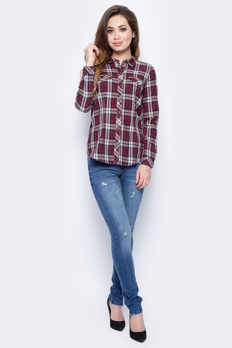Рубашка женская Sela, цвет: коричнево-бордовый. B-112/630-7432. Размер 48B-112/630-7432Женская рубашка от Sela выполнена из натурального хлопка. Модель полуприлегающего силуэта с длинными рукавами и отложным воротником застегивается на пуговицы, на груди дополнена кармашками с клапанами.