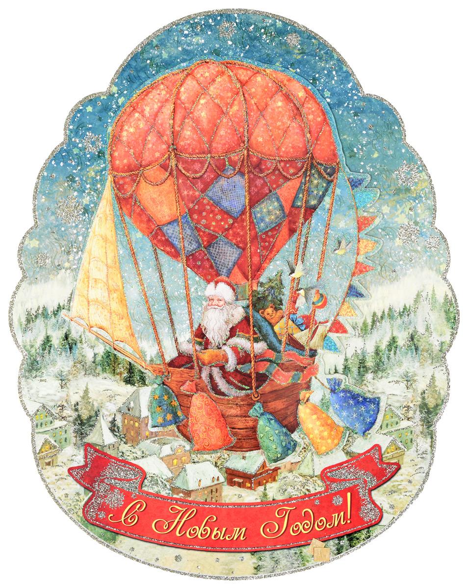 Украшение новогоднее оконное Magic Time Доставка подарков, двустороннее, 29 х 37 см75147Двухстороннее новогоднее украшение Magic Time Доставка подарков, выполнено из картона в виде панно и декорировано блестками. Изделие предназначено для праздничного оформления стен, окон и дверей. С помощью такого украшения можно составлять на мебели целые зимние сюжеты, которые будут радовать глаз и поднимать настроение в праздничные дни! Также вы можете преподнести этот сувенир в качестве мини-презента коллегам, близким и друзьям с пожеланиями счастливого Нового Года!В комплект входят клеевые подушечки.Плотность картона: 300 г/м2.