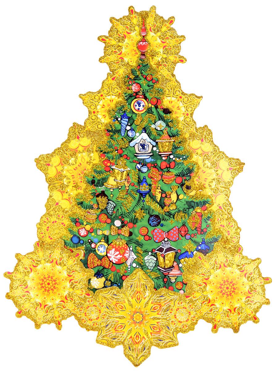 Украшение новогоднее оконное Magic Time Искрящаяся елка, двустороннее, 30 х 40 см75163Двухстороннее новогоднее украшение Magic Time Искрящаяся елка, выполнено из картона в виде панно и декорировано блестками. Изделие предназначено для праздничного оформления стен, окон и дверей. С помощью такого украшения можно составлять на мебели целые зимние сюжеты, которые будут радовать глаз и поднимать настроение в праздничные дни! Также вы можете преподнести этот сувенир в качестве мини-презента коллегам, близким и друзьям с пожеланиями счастливого Нового Года!В комплект входят клеевые подушечки.