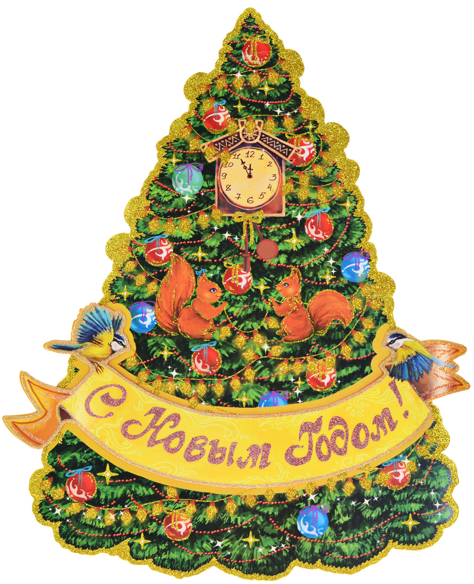 """Двухстороннее новогоднее украшение Magic Time  """"Красавица елка"""", выполнено из картона в виде панно и  декорировано блестками. Изделие предназначено для  праздничного оформления стен, окон и дверей. С помощью  такого украшения можно составлять на мебели целые зимние  сюжеты, которые будут радовать глаз и поднимать настроение в  праздничные дни! Также вы можете преподнести этот сувенир  в качестве мини-презента коллегам, близким и друзьям с  пожеланиями счастливого Нового Года! В комплект входят клеевые подушечки. Плотность картона: 300 г/м2."""