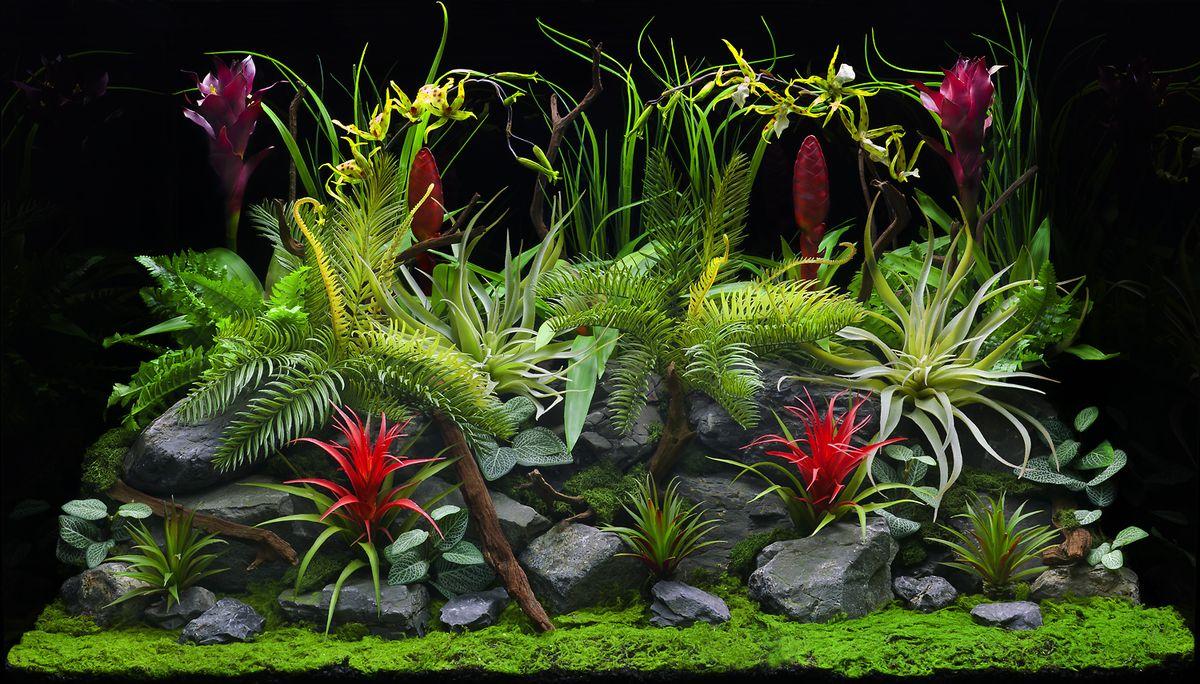 Фон аквариумный Barbus Цветы джунглей. Старый вулкан, двухсторонний, 45 х 94 смBACKGROUND 032