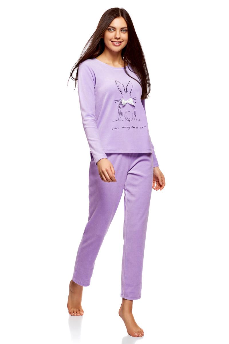 Джемпер жен oodji Underwear Ultra, цвет: сиреневый, мультиколор. 59811005-2/16545/8019P. Размер L (48)59811005-2/16545/8019PХлопковый джемпер для дома с милым девичьим принтом. Джемпер приталенного силуэта, с длинными рукавами и довольно широкой круглой горловиной. Ткань из хлопка с эластаном мягкая и приятная на ощупь. В таком джемпере вам будет комфортно и уютно. Джемпер с принтом выглядит очаровательно. К нему подойдут уютные домашние брюки с эластичной резинкой и ваши любимые тапочки. В таком комплекте вам будет удобно отдыхать, заниматься домашними делами или встречать неожиданных гостей. Практичная и нежная вещь для дома гармонично впишется в ваш гардероб!