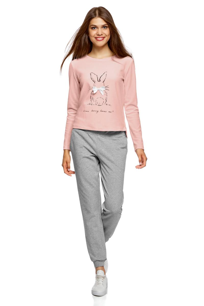 Лонгслив для дома женский oodji Underwear Ultra, цвет: светло-розовый. 59811005-2/16545/4029P. Размер XS (42)59811005-2/16545/4029PХлопковый лонгслив для дома от oodjiс милым девичьим принтом. Лонгслив приталенного силуэта, с длинными рукавами и довольно широкой круглой горловиной. Ткань из хлопка с эластаном мягкая и приятная на ощупь. В таком лонгсливе вам будет комфортно и уютно. Лонгслив с принтом выглядит очаровательно. К нему подойдут уютные домашние брюки с эластичной резинкой и ваши любимые тапочки. В таком комплекте вам будет удобно отдыхать, заниматься домашними делами или встречать неожиданных гостей. Практичная и нежная вещь для дома гармонично впишется в ваш гардероб!