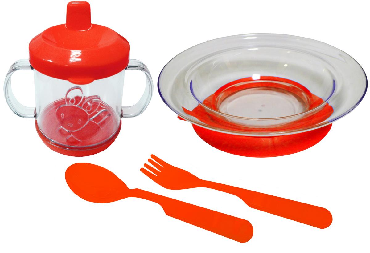 Набор детской посуды цвет красный 4 предмета 1112