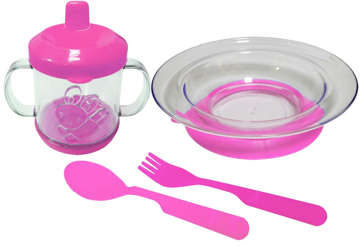 Набор детской посуды цвет розовый 4 предмета 11121112розНабор посуды из 4-х предметов, идеальный для начала самостоятельного питания малыша. Произведено в России из безопасного пищевого пластика. Форма изготовлена по лучшим европейским технологиям. Кружка-поильник 225 мл с объемной фигуркой, эргономичные и безопасные ложка-вилка. Глубокая тарелка на съемной присоске предотвращает скольжение по столу и переворачивание. Яркие цвета и объемная фигурка зверюшки обеспечивают интерес ребенка и удовольствие от кормления. Можно мыть в посудомоечной машине и ставить в СВЧ (снять присоску с тарелки!).