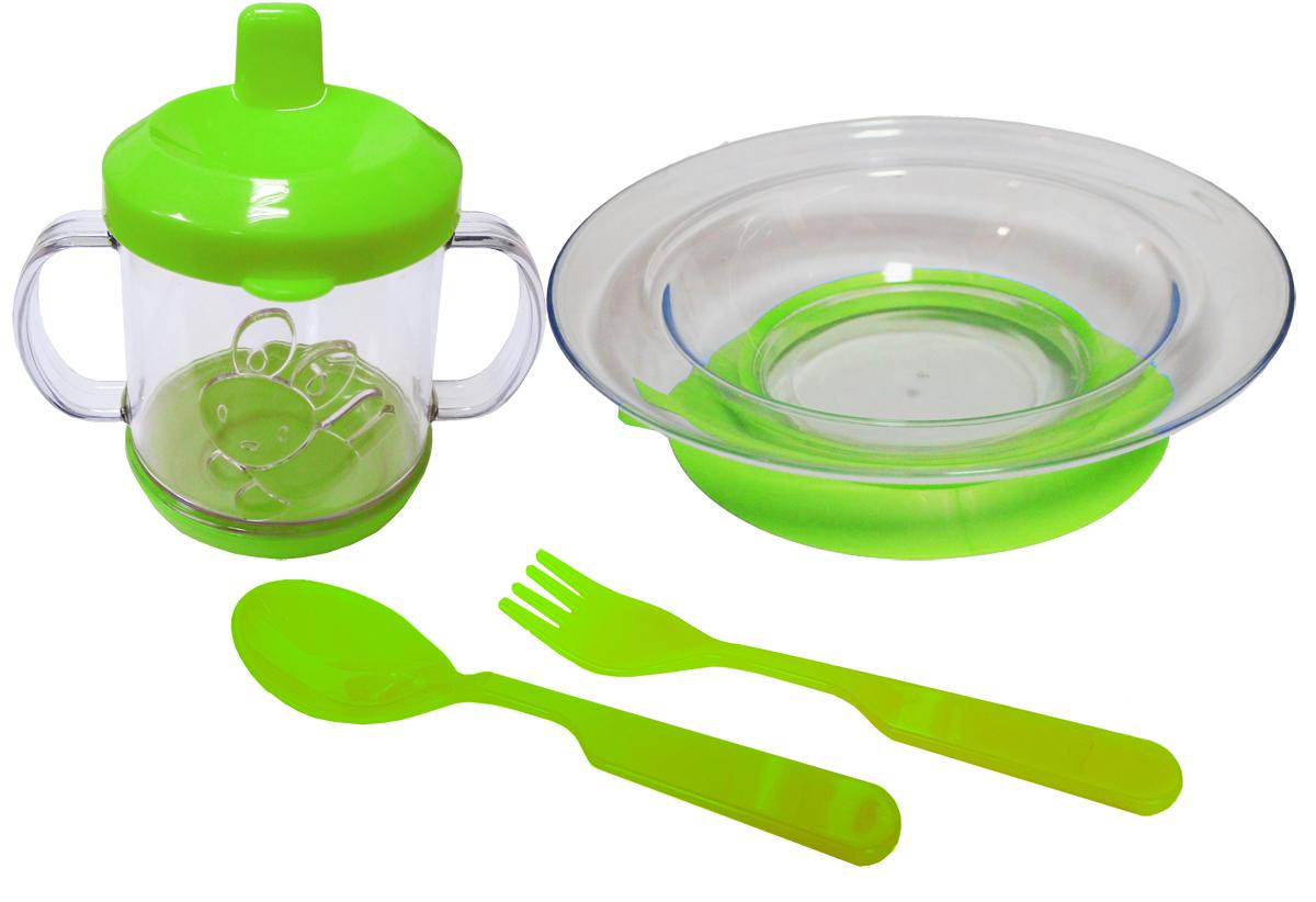 Набор детской посуды цвет салатовый 4 предмета 1112