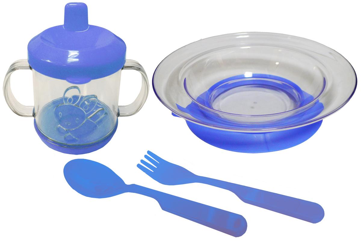 Набор детской посуды цвет синий 4 предмета 11121112синНабор посуды из 4-х предметов, идеальный для начала самостоятельного питания малыша. Произведено в России из безопасного пищевого пластика. Форма изготовлена по лучшим европейским технологиям. Кружка-поильник 225 мл с объемной фигуркой, эргономичные и безопасные ложка-вилка. Глубокая тарелка на съемной присоске предотвращает скольжение по столу и переворачивание. Яркие цвета и объемная фигурка зверюшки обеспечивают интерес ребенка и удовольствие от кормления.Можно мыть в посудомоечной машине и ставить в СВЧ (снять присоску с тарелки!).