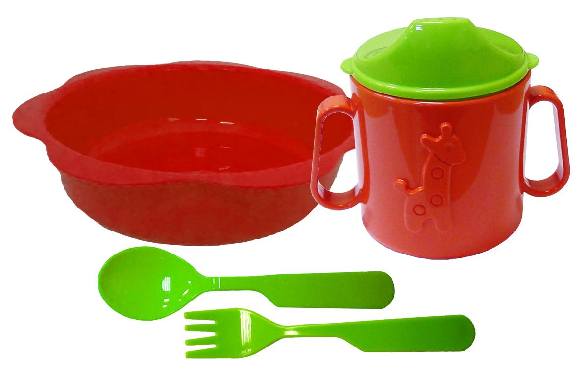 Набор детской посуды цвет красный, зеленый 4 предмета Н-Д1Н-Д1Набор посуды из 4-х предметов, идеальный для начала самостоятельного питания малыша. Произведено в России из безопасного пищевого пластика. Форма изготовлена по лучшим европейским технологиям. Кружка-поильник 180 мл с объемной фигуркой, эргономичные и безопасные ложка и вилка, глубокая тарелка 16 см. Яркие цвета и объемная фигурка зверюшки обеспечивают интерес ребенка и удовольствие от кормления. Можно мыть в посудомоечной машине и ставить в СВЧ.