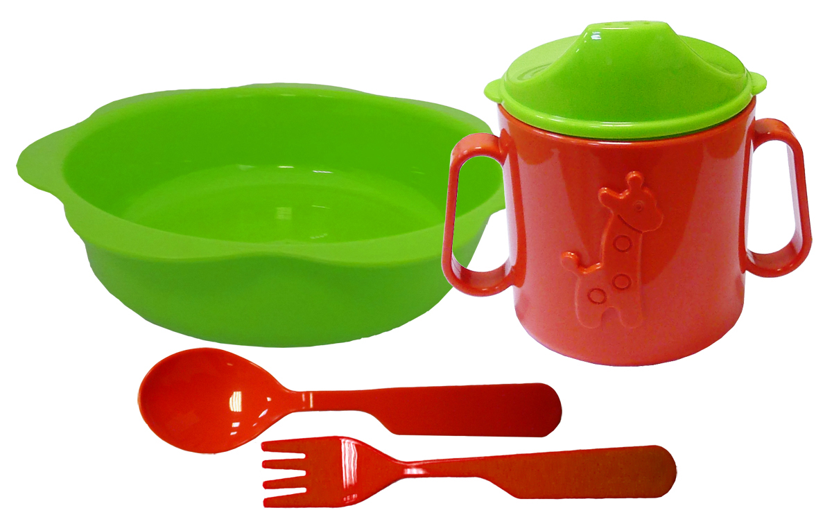Набор детской посуды цвет зеленый, красный 4 предмета Н-Д2Н-Д2Набор посуды из 4-х предметов, идеальный для начала самостоятельного питания малыша. Произведено в России из безопасного пищевого пластика. Форма изготовлена по лучшим европейским технологиям. Кружка-поильник 180 мл с объемной фигуркой, эргономичные и безопасные ложка и вилка, глубокая тарелка 16 см. Яркие цвета и объемная фигурка зверюшки обеспечивают интерес ребенка и удовольствие от кормления. Можно мыть в посудомоечной машине и ставить в СВЧ.