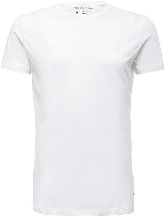 Футболка мужская Calvin Klein Jeans, цвет: белый. J30J305669_1120. Размер L (46/48)J30J305669_1120Мужская футболка от Calvin Klein выполнена из эластичного хлопка. Модель с короткими рукавами и круглым вырезом горловины оформлена принтом Calvin Klein на груди.