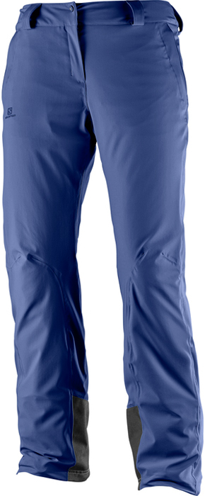 Брюки утепленные женские Salomon Icemania Pant W, цвет: синий. L39741500. Размер L (48/50)L39741500Женские брюки Icemania Pant не без причины являются бестселлером нового сезона. Они отличаются одной из лучших посадок благодаря прочной нейлоновой ткани, которая тянется в четырех направлениях. Термосварные швы защищают от попадания снега, а 60 г утеплителя AdvancedSkin Warm отлично сохраняют тепло и мягкость.