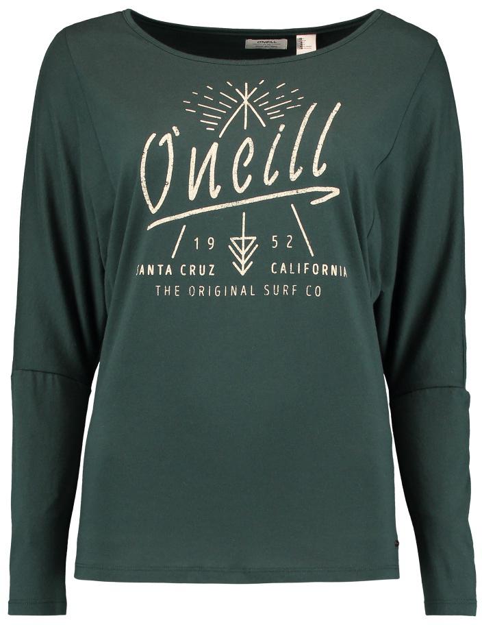 Лонгслив женский ONeill Lw Squaw Valley T-Shirt, цвет: темно-зеленый. 7P7100-6085. Размер M (46/48)7P7100-6085Лонгслив женский ONeill Lw Squaw Valley T-Shirt выполнен из высококачественного материала. Модель с круглым вырезом горловины и длинными рукавами оформлена оригинальным принтом..