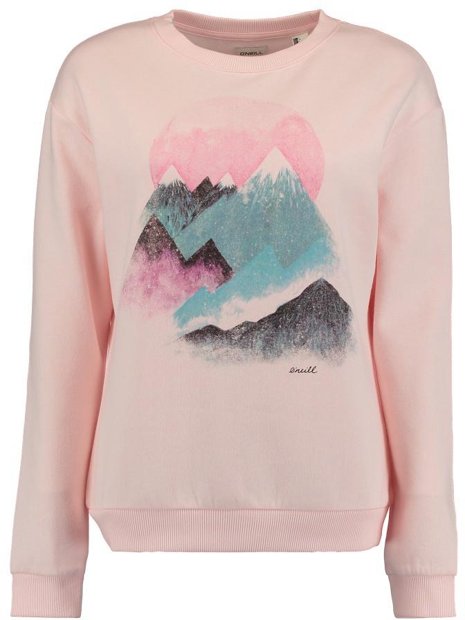 Свитшот женский ONeill Lw Mountain View Sweatshirt, цвет: розовый. 7P8604-4058. Размер S (44/46)7P8604-4058Стильный свитшот ONeill Lw Mountain View Sweatshirt, изготовленный из высококачественного материала, необычайно мягкий и приятный на ощупь, не сковывает движения, обеспечивая наибольший комфорт. Изделие с круглым вырезом горловины и длинными рукавами. Горловина, низ рукавов и низ изделия связаны резинкой. Изделие оформлено оригинальным принтом. Этот модный и в тоже время комфортный свитшот - отличный вариант для активного отдыха.