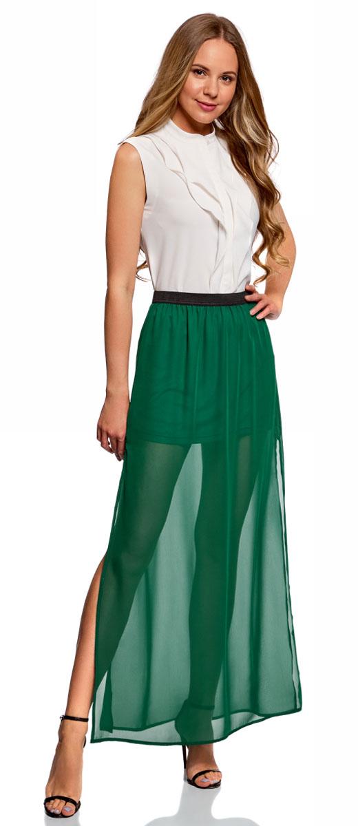 Юбка женская oodji Ultra, цвет: зеленый. 13G00002B/13632/6E00N. Размер 40-170 (46-170)13G00002B/13632/6E00N