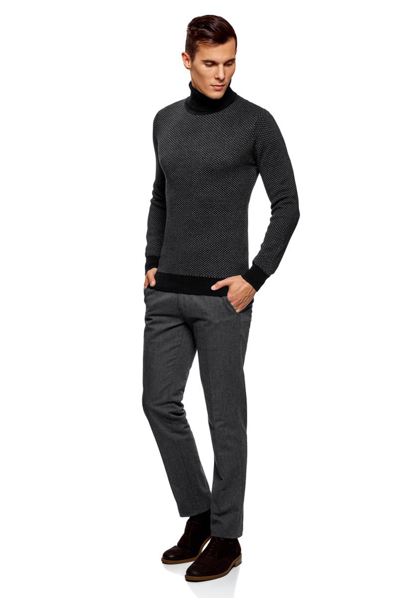 Свитер мужской oodji Lab, цвет: черный, серый. 4L312052M/25255N/2923G. Размер XL (56)4L312052M/25255N/2923GМужской вязаный свитер от oodji выполнен из хлопково-акриловой пряжи. Модель с воротником-гольф и длинными рукавами.