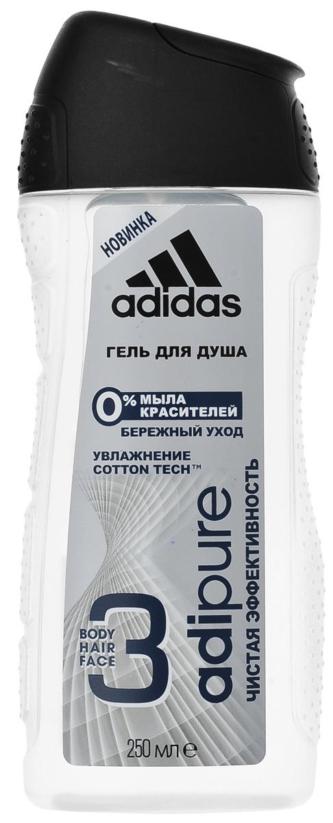 Adidas Гель для душа и шампунь Adipure мужской, 250 мл34001073204Гель для душа Adipure со специальной формулой для чистой эффективности и ухода за кожей. Гель для душа adipure обеспечивает бережное очищение и ощущение свежести. Для мягкой и увлажненной кожи.Формула:0% мыла;0% красителей;Ph сбалансирован.Содержит комплекс cotton-tech с увлажняющими компонентами и экстрактом хлопка. Абсорбирующая технология. 0% солей алюминия. Чистая эффективность. Прозрачная текстура.Уважаемые клиенты! Обращаем ваше внимание на то, что упаковка может иметь несколько видов дизайна. Поставка осуществляется в зависимости от наличия на складе.