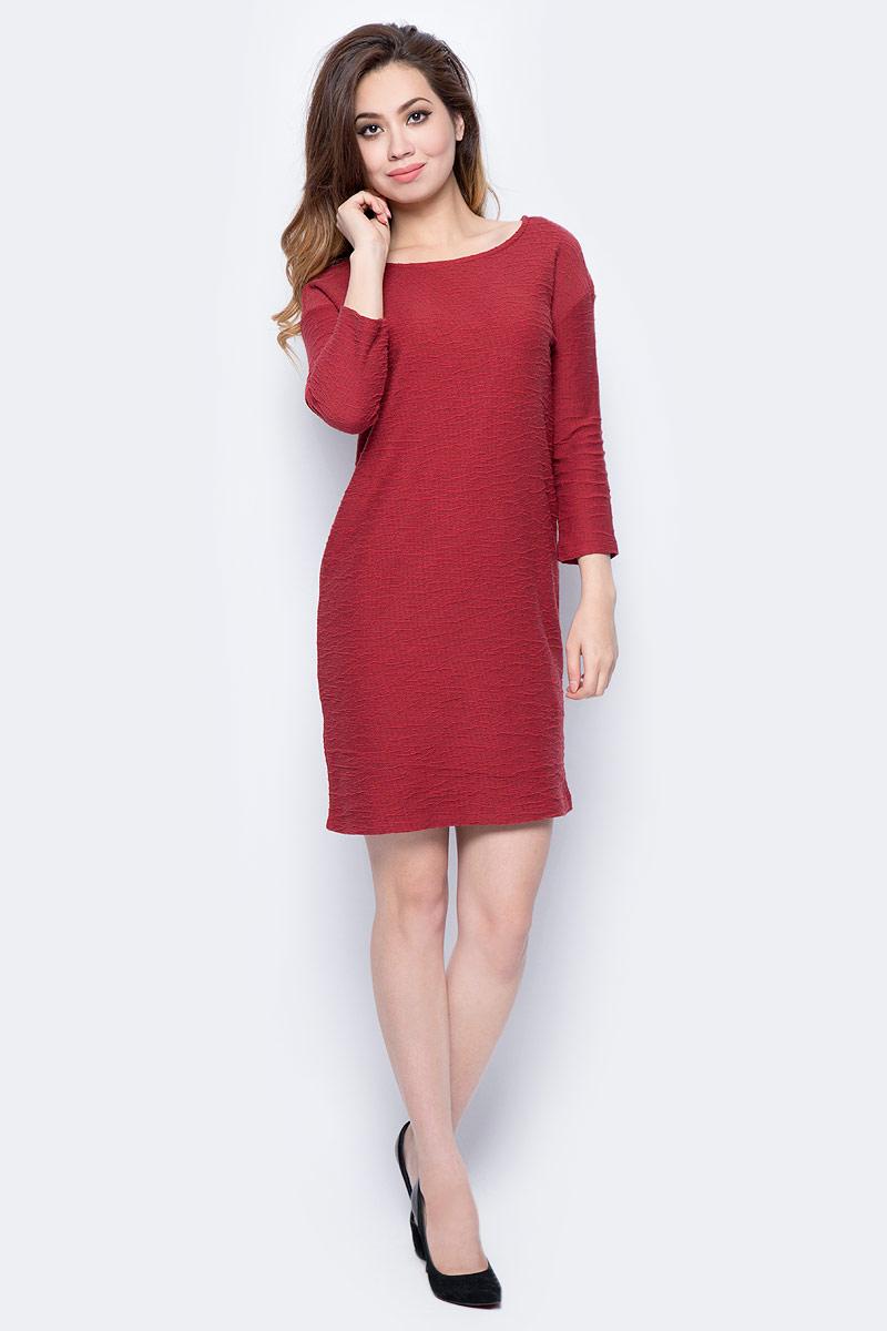 Платье Sela, цвет: коричнево-бордовый. DK-117/1169-7432. Размер L (48)DK-117/1169-7432Стильное платье от Sela выполнено из хлопкового трикотажа. Модель прямого кроя с рукавами 3/4 и круглым вырезом горловины.