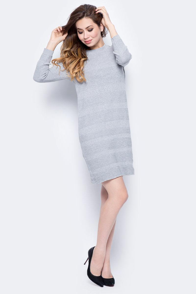 Платье Sela, цвет: серый меланж. DSw-317/1164-7422. Размер L (48)DSw-317/1164-7422Повседневное платье от Sela выполнено из натурального хлопка. Модель прямого кроя с рукавами 3/4 и круглым вырезом горловины.