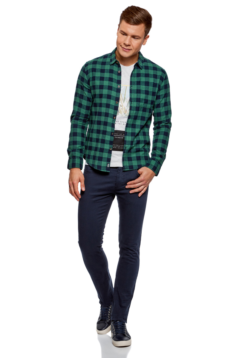 Рубашка мужская oodji Lab, цвет: темно-синий, зеленый. 3L310150M/39882N/7962C. Размер XXL-182 (58/60-182) рубашка мужская oodji basic цвет бирюзовый 3b320002m 21155n 7300n размер xxl 182 58 60 182
