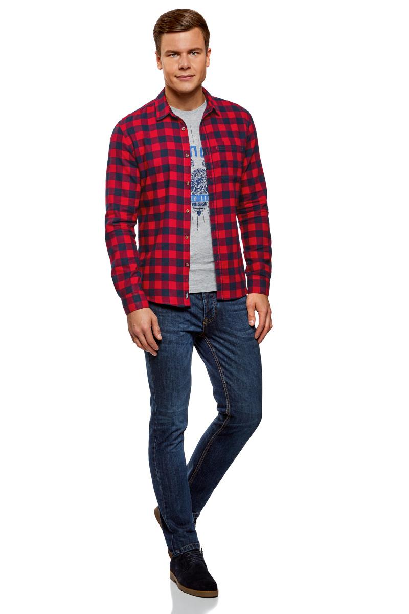 Рубашка мужская oodji Lab, цвет: красный, темно-синий. 3L310150M/39882N/4579C. Размер XL-182 (56-182)3L310150M/39882N/4579CМужская рубашка от oodji выполнена из натурального хлопка. Модель с длинными рукавами и отложным воротником застегивается на пуговицы.