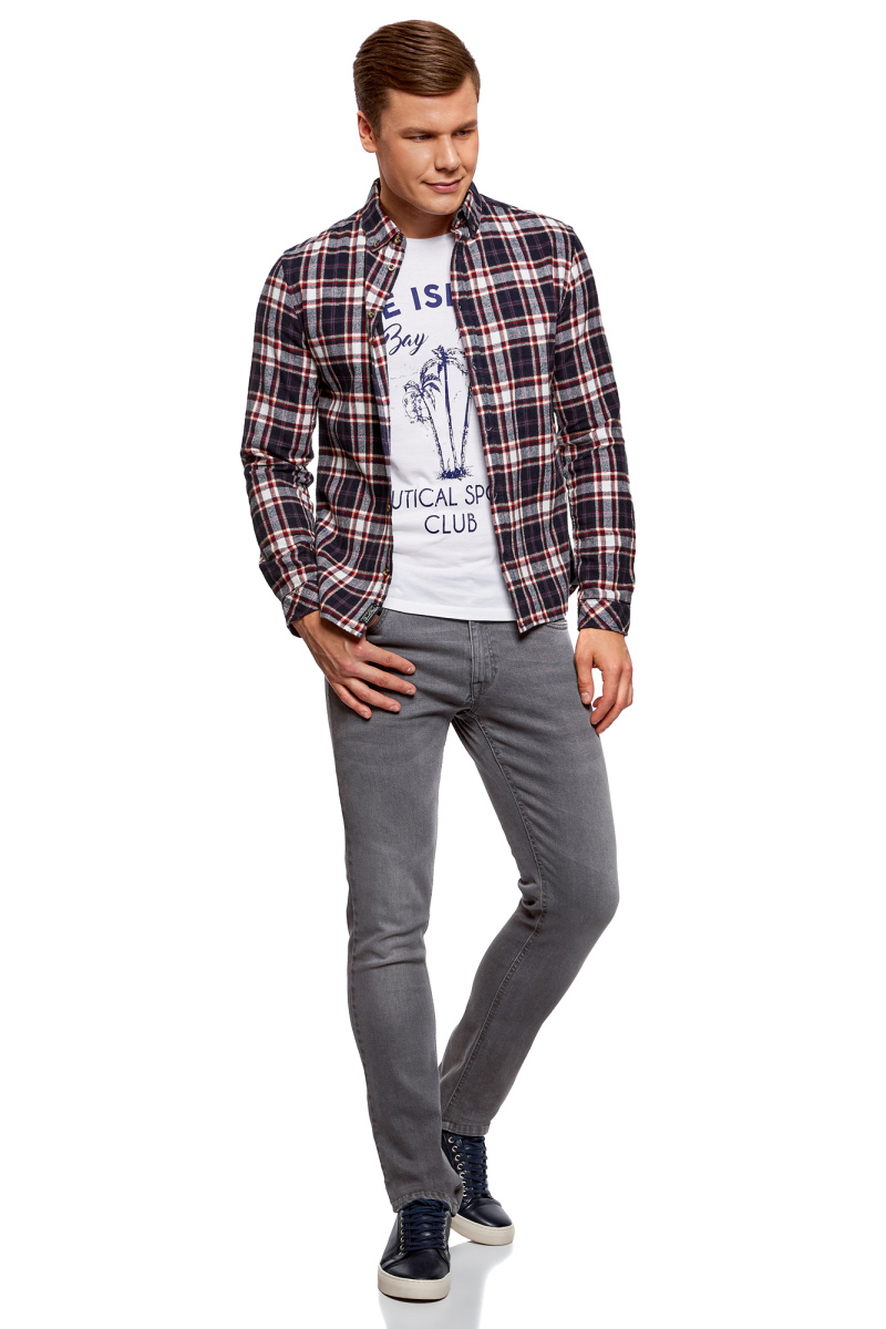 Рубашка мужская oodji Lab, цвет: темно-синий, бордовый. 3L310149M/47057N/7949C. Размер M-182 (50-182)3L310149M/47057N/7949CМужская рубашка от oodji выполнена из натурального хлопка. Модель с длинными рукавами и отложным воротником застегивается на пуговицы.